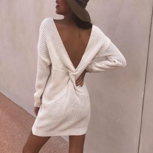 Fashion Deep V Bare Back Pure Colour Sweater