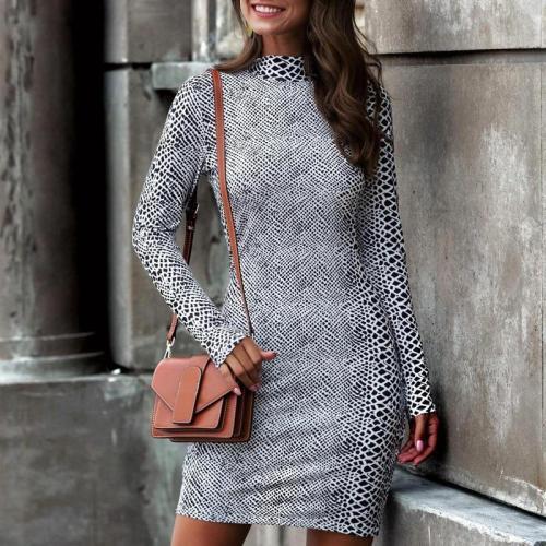 Women's Stand Collar Long-Sleeve Slim Bodycon Dress
