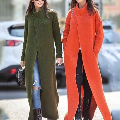 Women's Commuting Pure Color High Collar Shoulder Sleeve Sweater Dress