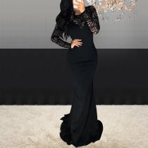 Sexy Fashion V-Neck Lace Long Sleeve Evening Dress