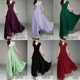 V-neck Pure Color High Waist Long Party Dress
