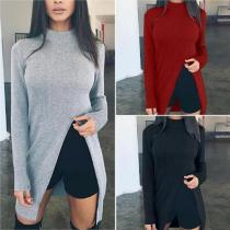 High Neck  Asymmetric Hem Side Slit  Plain Sweaters