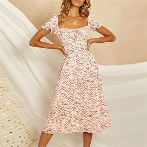 Sexy Low-Cut Fork Printed Maxi Dress