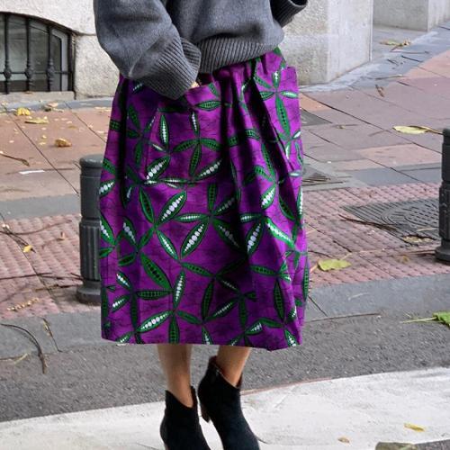 Fashion Casual Purple Printed Skirt RY58