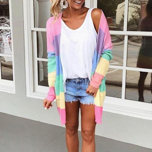 Plus Size Cardigan Womens Patchwork Long Sleeve Rainbow Stripe Cardigan Tops Sweater Coat Winter Sweater Women Кофта Женская#N-5