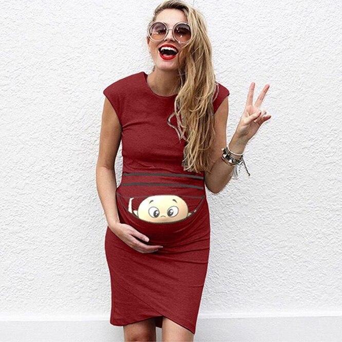 clothes for pregnant women Print Pregnant Maternity Dress Maternity Props Bodycon Casual  Mini pregnant dres