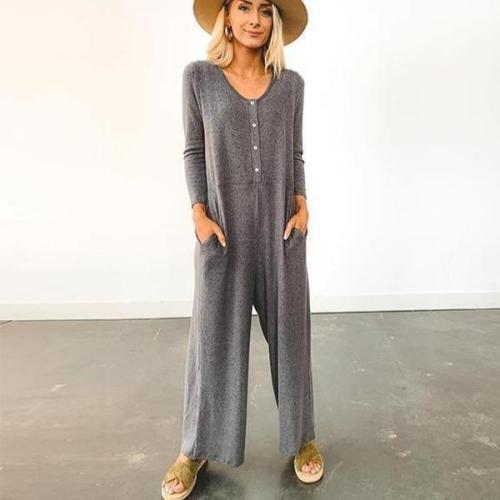 EBUYTIDE Casual Grey Long Sleeve Lounge Jumpsuit