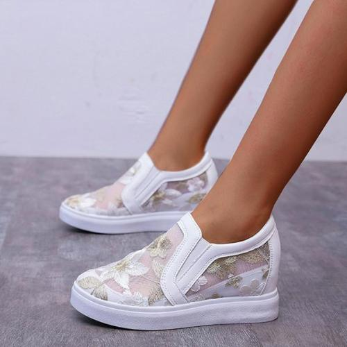 EBUYTIDE Women Lace Hollow Out Height Increasing Wedge Shoes