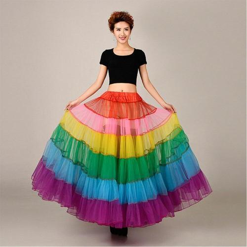 Colorful Petticoat Rockabilly Floor Length Long Evening Underskirt  Without Hoop Women Crinoline Bridal Wedding Accessories 2020