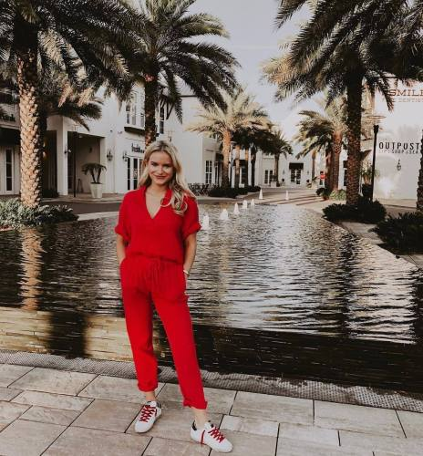 EBUYTIDE Stunning Red Short Sleeve Drawstring Jumpsuit