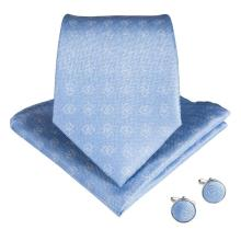 EBUYTIDE 2020 New Arrival Light Blue Mens Ties Pocket Square Set Neckties Silk Neck Tie Gravatas Tie For Wedding N-7087