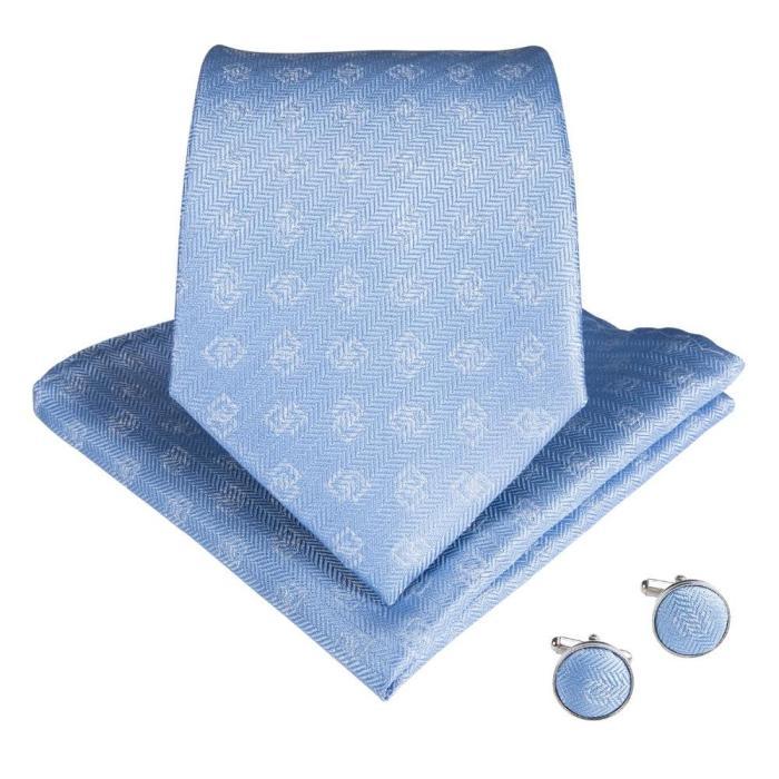 EBUYTIDE 2020 New Arrival Light Blue Mens Ties Pocket Square Set Neckties Silk Neck Tie Gravatas Tie For Wedding N-7087