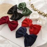 Vintage Fashion Linen Oversized Bow Hair Clip Korean Headwear Ponytail Clip Simple Fabric Woman Head Flower Gift