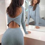 Sexy Round Neck Cutout Striped Long-sleeved Bodycon Dress