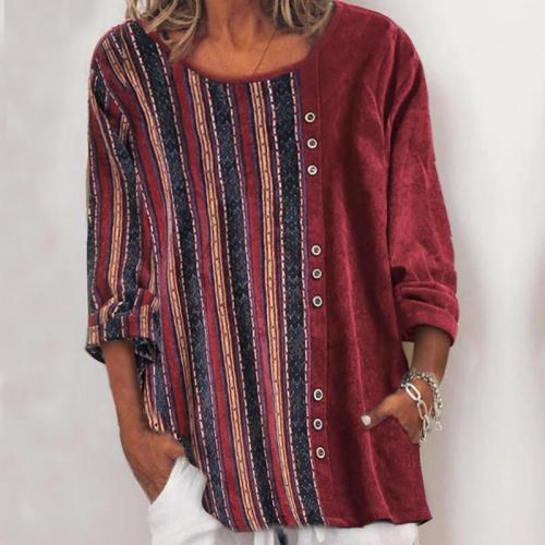 Vintage Printed Corduroy Crew Neck Pullover Top