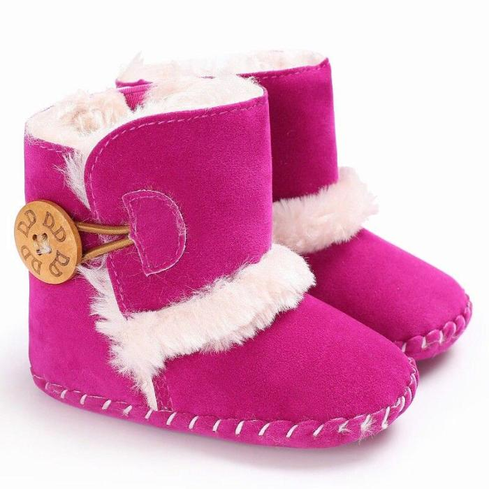 0-18M Newborn Infant Baby Girls Snow Boots Winter Warm Baby Shoes Solid Button Plush Ankle Boots