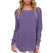 Crew Neck Side Split Loose Oversized Irregular Pullover Sweater