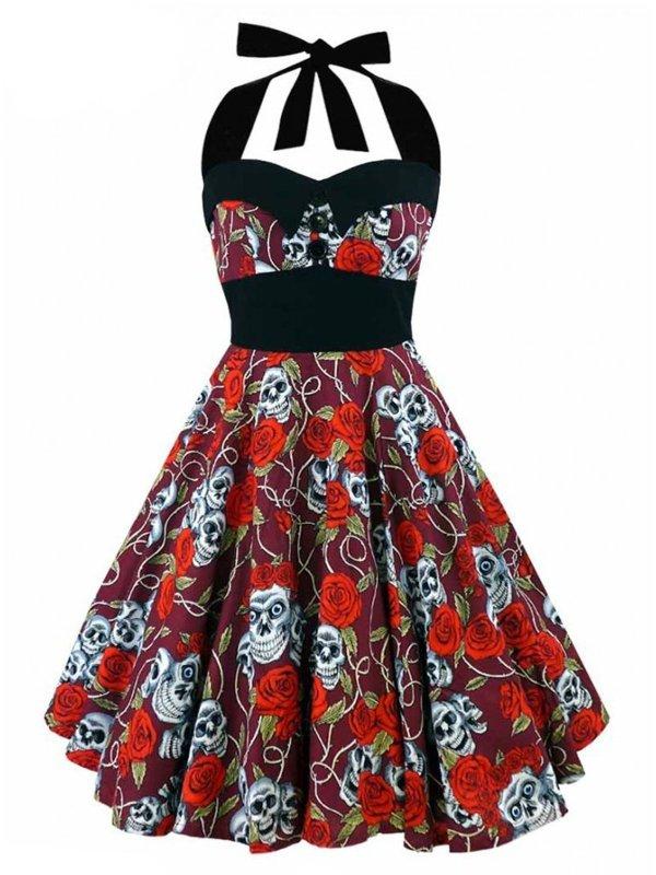 1950s Halter Skull Print Swing Dress