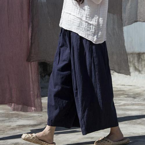 Navy Blue Cotton Linen Palazzo Pants