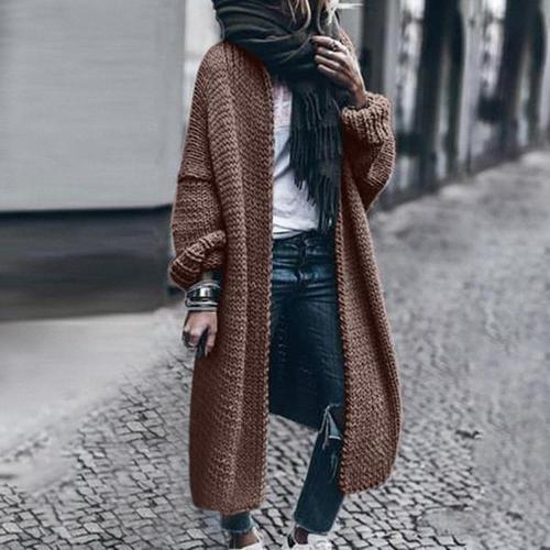2020 Autumn winter Women Long Cardigan Solid Loose Knit Cardigan Sweater Women Casual Cardigan Oversized