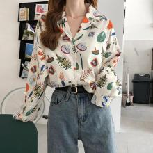 Autumn Female Vintage Print Blouse Loose Long Sleeve Shirts V Collar Women Fashion Tops