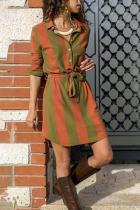 Casual Turndown Collar Long Sleeve Striped Dresses