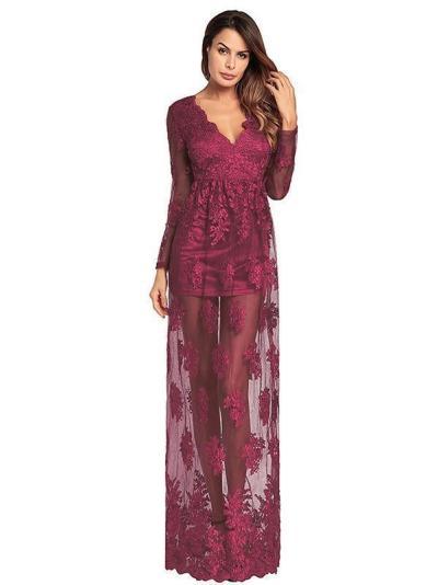 V-neck Embroidered Hollow Evening Dress