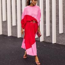Batwing Sleeve Color Block Maxi Dress