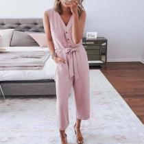 EBUYTIDE Gentle Pink V-Neck Sleeveless Slim Fit Button Jumpsuit
