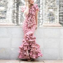 Sexy V-Neck Polka Dott Printed Slim Party Maxi Dress