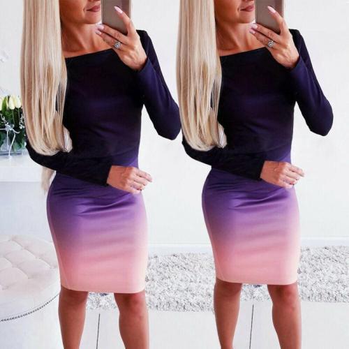 Womens Elegant Dress Stretch Bodycon Gradient Dresses