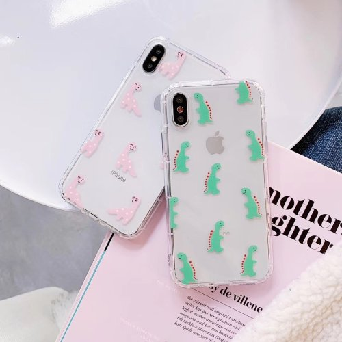 Candy Couple Dinosaur Clear Phone Case