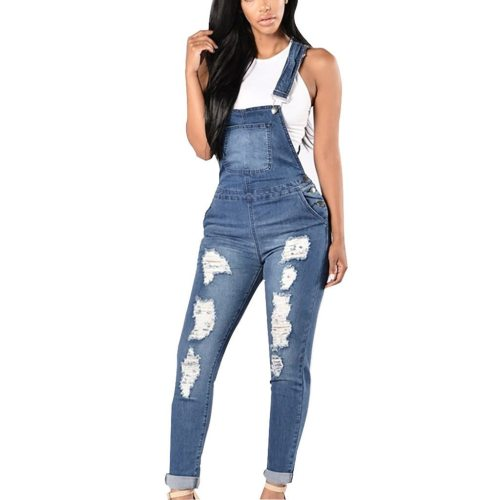 Spring Autumn Jean Overalls Ladies Loose Jeans Rompers Women Denim Jumpsuit Casual Hole Solid  Jumpsuit Pockets  strap pants