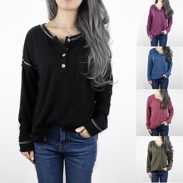 Fashion Round / V Neck With Button Long Sleeve Plain Casual Blouse