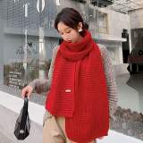 New Solid Color Thick Wool Knit Scarf Women Female Autumn and Winter Thick Knit Scarf Men and Women Handmade Japanese