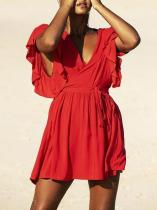 Deep V-neck Strap Solid Ruffled Cover-up Swimwear