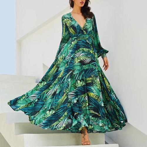 Fashion V Neck Bishop Sleeve Printed Colour Maxi Dresses
