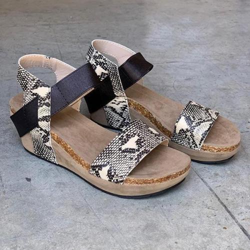 Women's Snakeskin Wedge Heel Platform Sandals