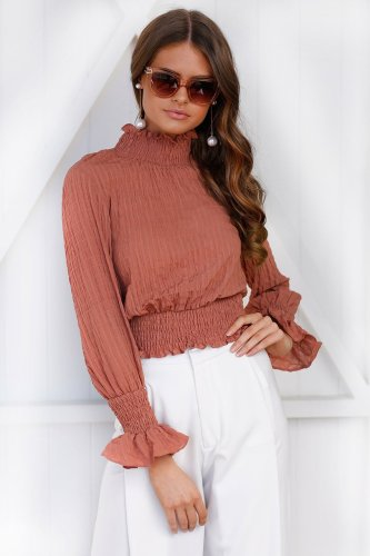 High Neck Long Sleeves Girding Waist Blouse