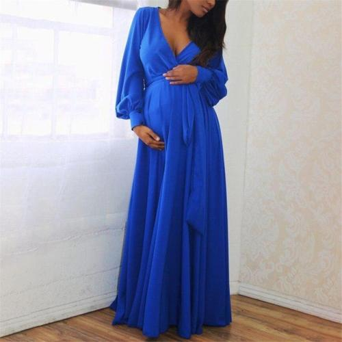 Maternity Dresses For Photo Shoot Fashion Women Pregnant Clothing V-Neck Long Sleeve Clothes Solid Ruffles Frenulum Sexy Dress