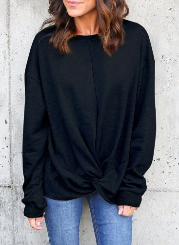 Knot Twist Front Long Sleeve Casual Pullover Hoodie