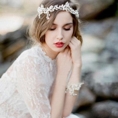 2020 Elegant Bridal Headwear Pearls Beaded Jewery headwear for women With Ribbon