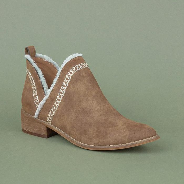 Brief Comfortable Chunky Round Toe Plain Women Boots
