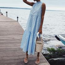 Elegant Polka Dot Splicing Pleated Dress