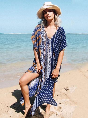 Floral V-neck Cover-ups Beach Maxi Dress