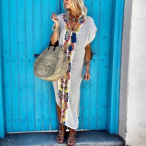 Bohemian Pleated Printed Colour Slit Dress