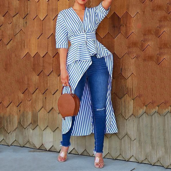 Fashion V Neck Striped Irregular Blouse
