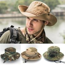 Unisex Bucket Hat Hikinig Cap Military Outdoor Fishing Hunting Wide Brim Camo Boonie Mesh Sun Cap UV Protection Ear Flap Hat