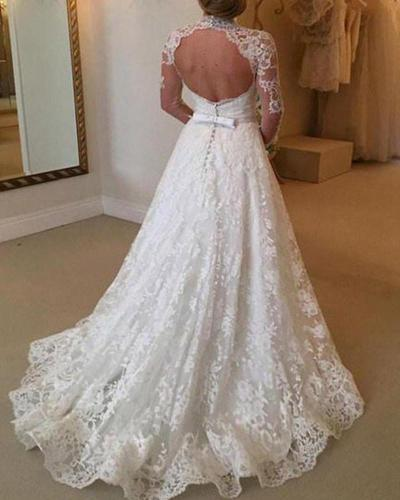Lace Long Sleeve See-through Evening Dress
