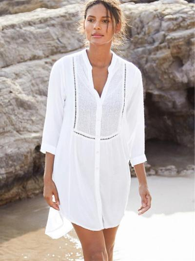 Hollow Split-joint Single-breasted Shirt Cover-up